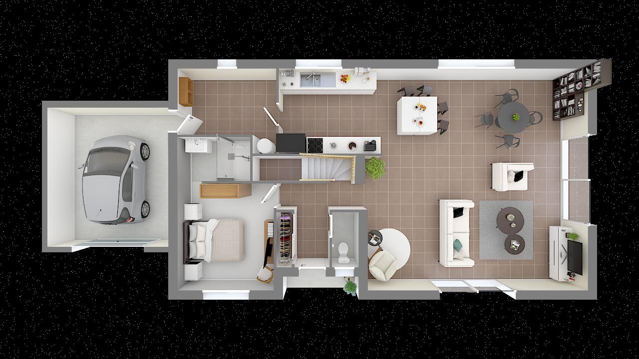 Plan d'intérieur de maison avec toit plat près à Tresses